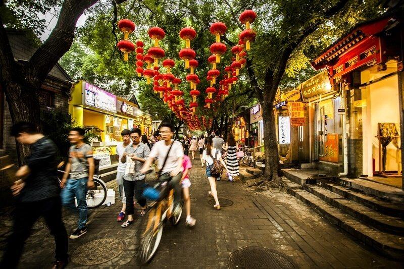 Beijing - Nanluoguxiang straat, in de Hutong gebied