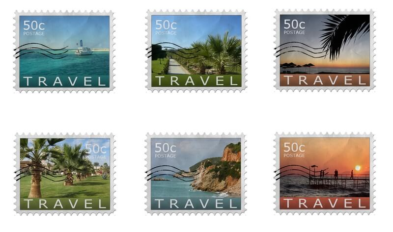 buitenlandse postzegel op kaartje