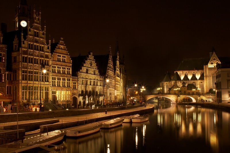 België De Vlaamse stad van Gent nachts