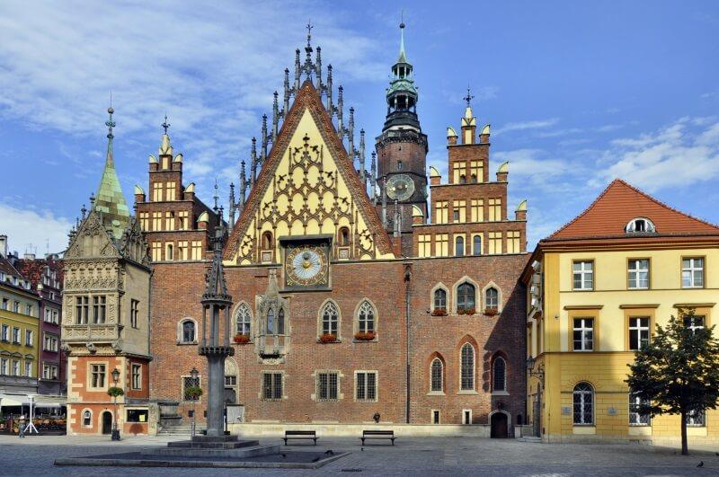 Wroclaw - Oud Gotisch stadhuis in Wroclaw (Breslau) in Polen.