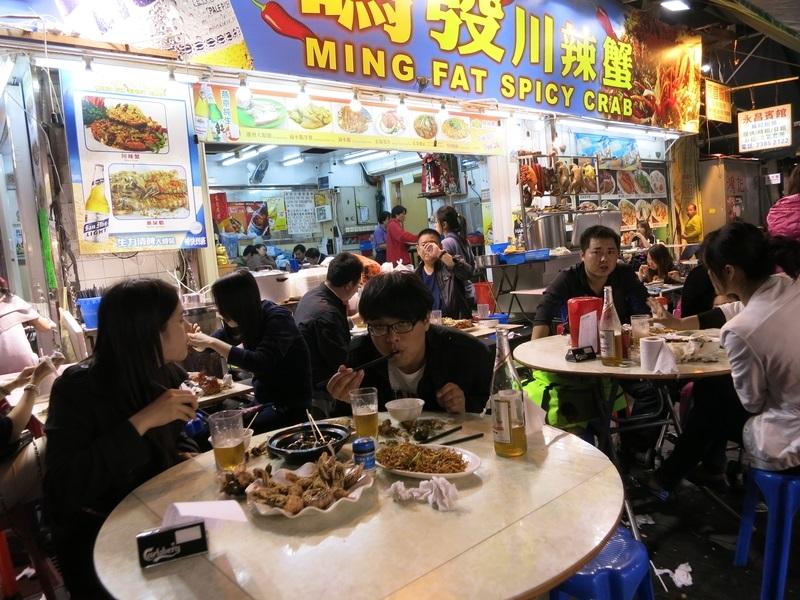 Hongkong - markt en eten in de nacht