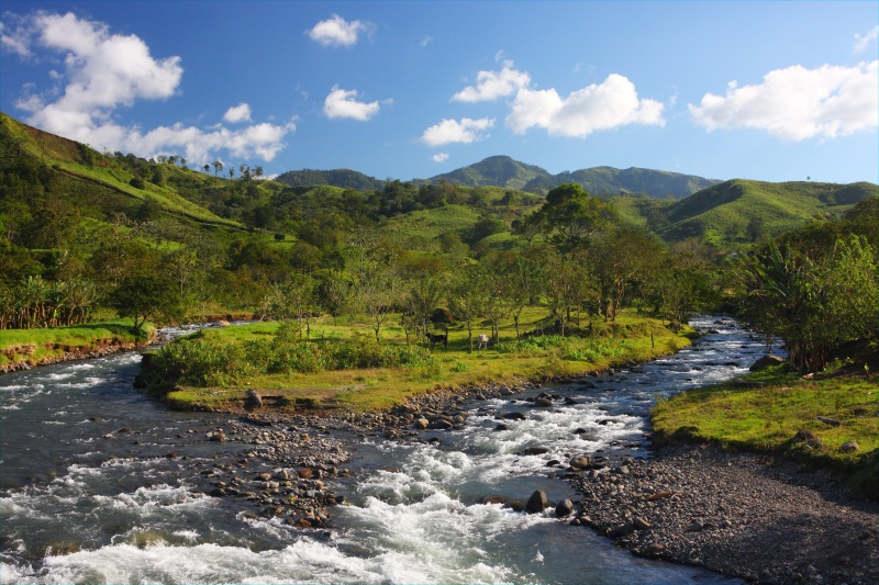 Mountain landscape with a river in Monteverde (Costa Rica)