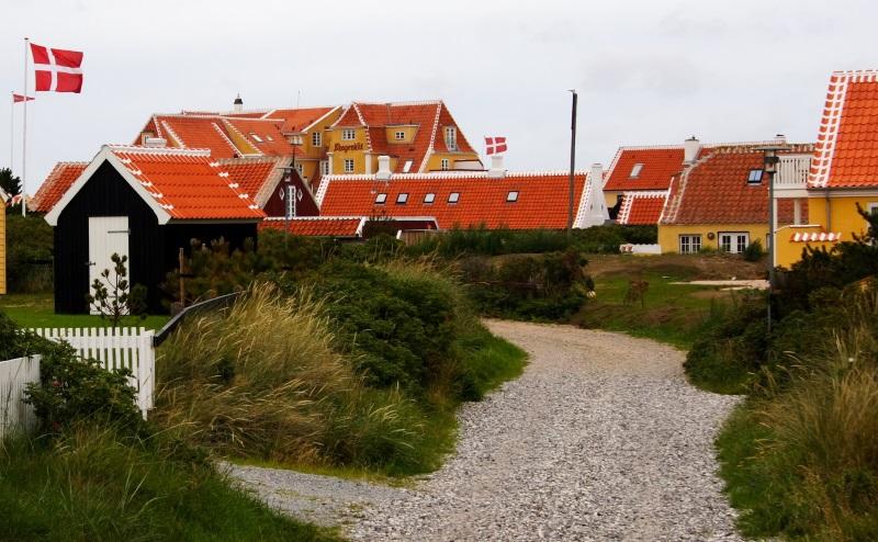 Skagen - Typische huizen van Skagen, Denemarken.