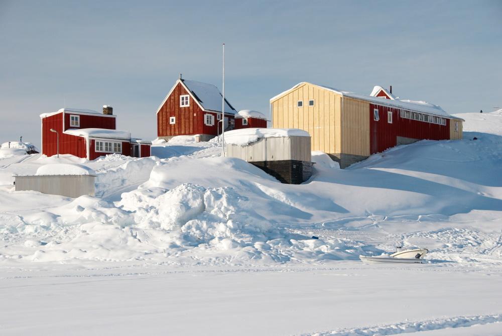 Groenland een Inuit dorp