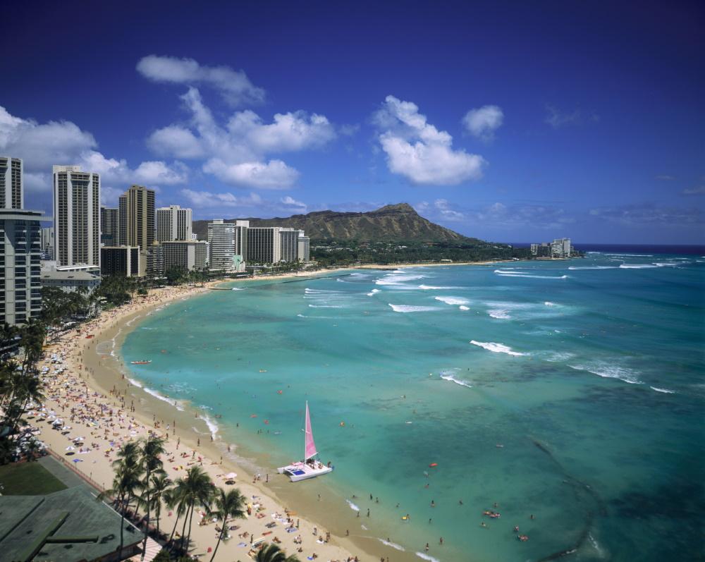 Hawaii Waikiki beach op het eiland Oahu