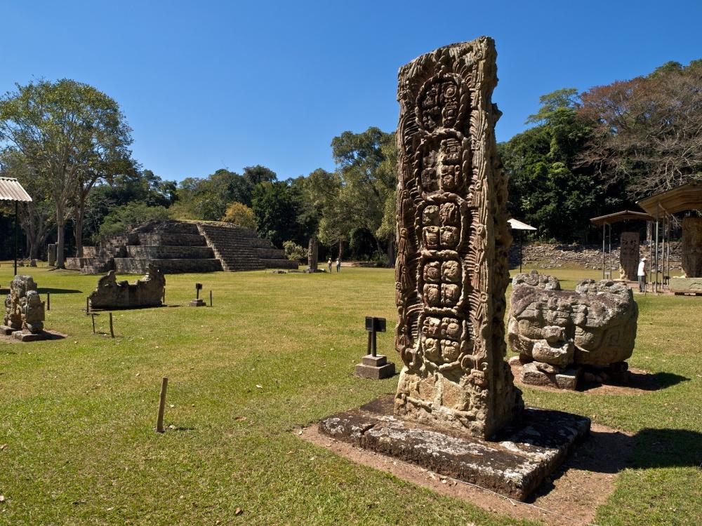 Honduras Maya gebouw bij Copan ruïnes