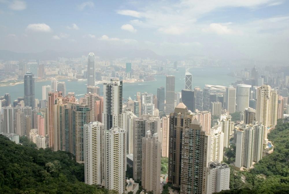 Hongkong zicht van HKG eiland