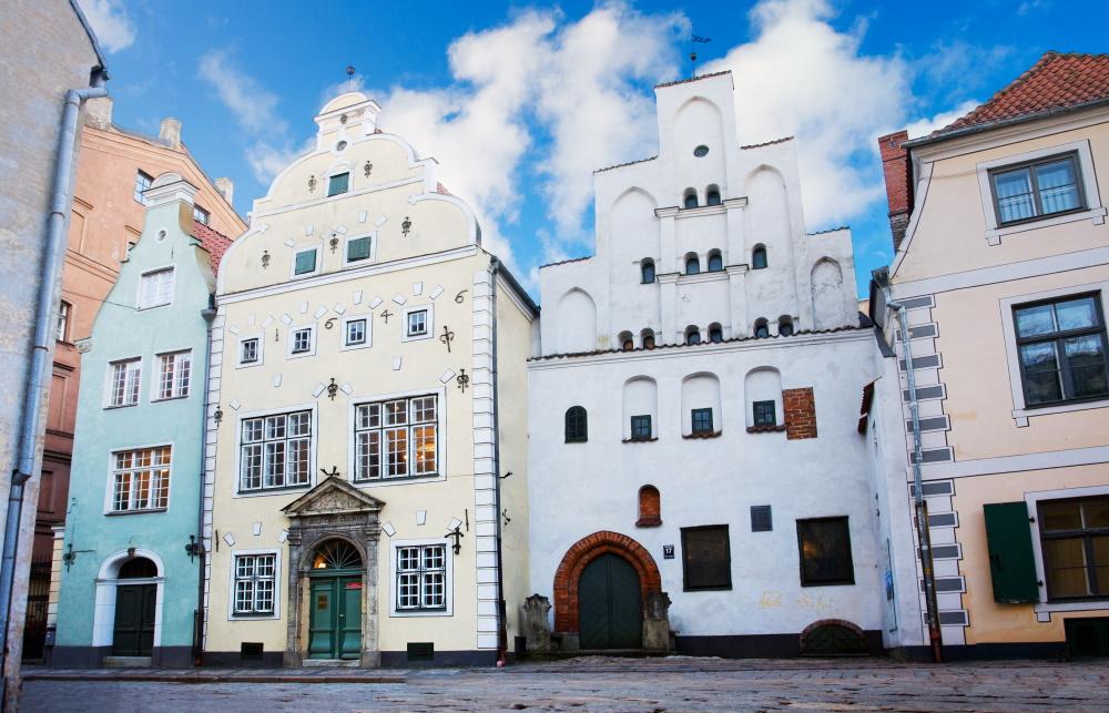 Letland Riga Middeleeuwse huizen de drie broers