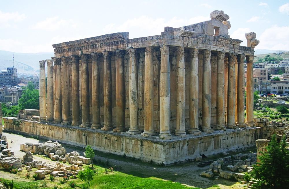 Libanon Romeinse ruïnes van Bacchus Baalbek in de Bekaa Vallei