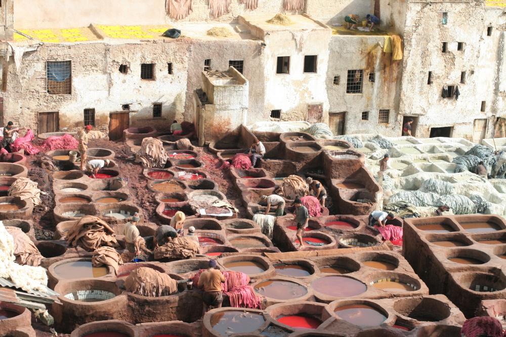 Marokko leerlooierij in Fez