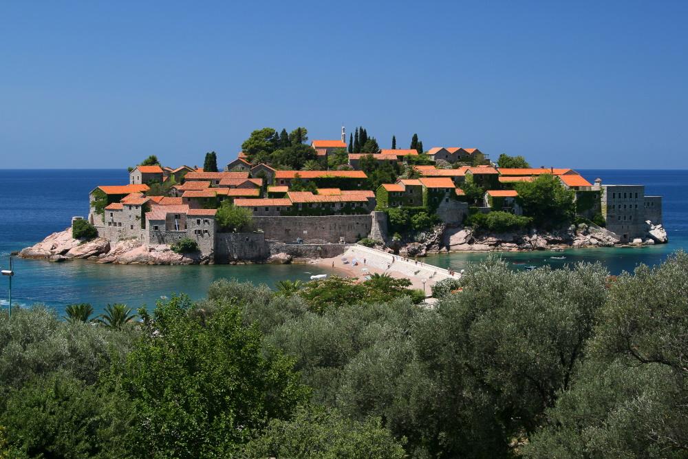 Montenegro eiland Sveti Stefan Adriatische Zee