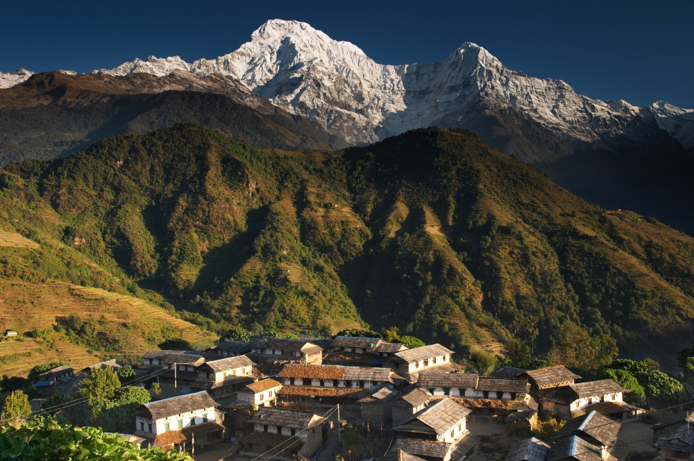 Nepal Himalaya dorp langs het Annapurna massief