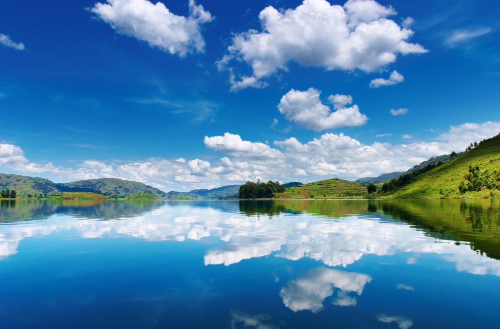 Beautiful mountain lake Bunyonyi in Uganda