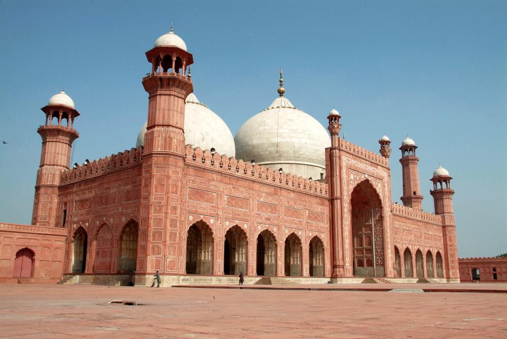 Pakistan Badshahi Masjid mooie architectuur uit de Moghol periode