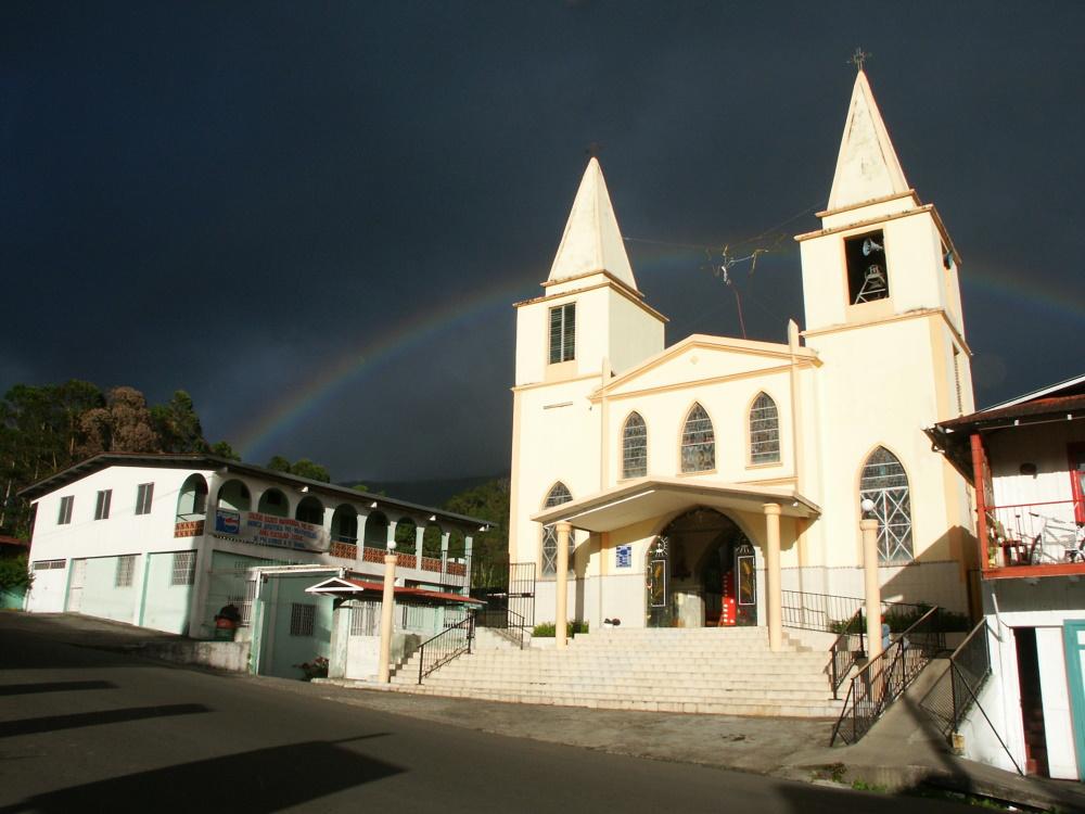 Panama Baptische kerk in het stadje Boquete