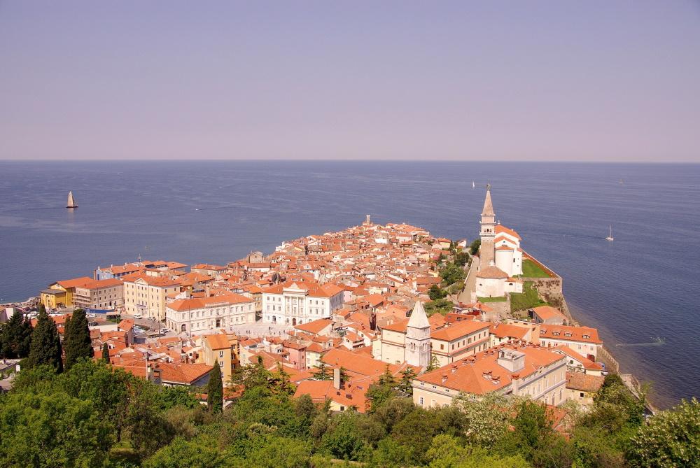 Slovenië Piran Saint George Cathedraal oude stad