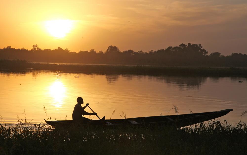 Togo vissers op het meer