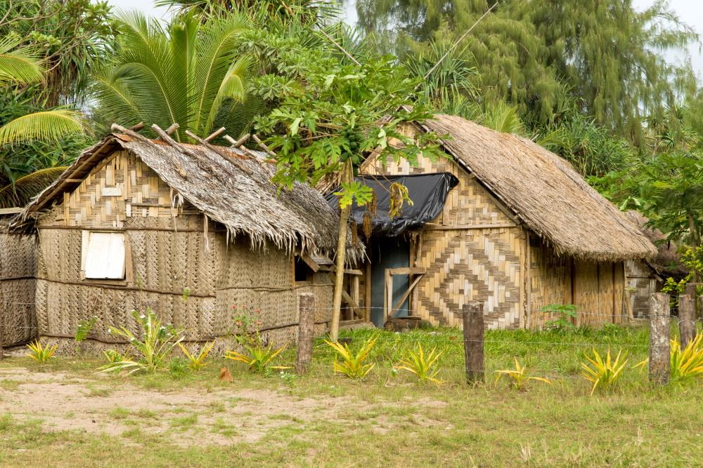 Vanuatu traditionele Thatch huisje op Nguna eiland