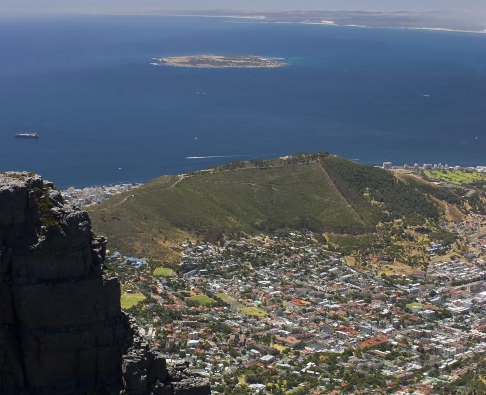 Zuid-Afrika vanaf de tafelberg uitzicht op Robben eiland